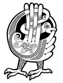Black and white authentic celtic bird — Stockvektor