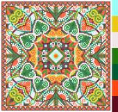 Geometric square pattern for cross stitch ukrainian traditional — Stock Vector