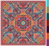 Geometric square pattern for cross stitch ukrainian traditional — Stok Vektör