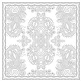 Coloring book square page for adults - ethnic floral carpet desi — Vector de stock
