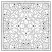 Coloring book square page for adults - ethnic floral carpet — Stock Vector