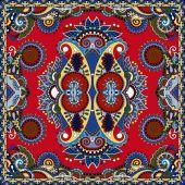 Red ornamental floral paisley bandanna — Cтоковый вектор