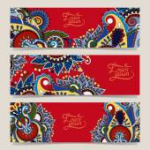 Set of three red horizontal banners with decorative ornamental f — Stock Vector