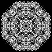 Reticolo circolare dell'annata bello bianco e nero di arabeschi — Vettoriale Stock