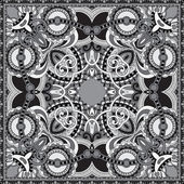 Grey ornamental floral paisley bandanna — Stock Vector