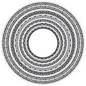 Set of grey round geometrical frames, circle border ornament — Stock Vector