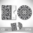 CD cover design template with grey ukrainian ethnic style orname — Stock Vector #70905151
