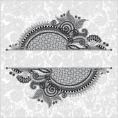 Grey vintage floral ornamental template on flower background — Stock Vector