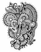 Black zentangle line art flower drawing — Stock Vector