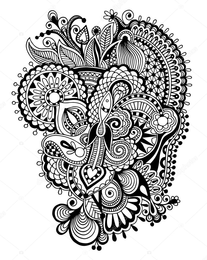 Psychedelic Sun Coloring Pages Print. Schwarz Zentangle Linie Kunst ...