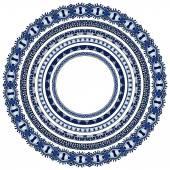 Set of round geometrical frames, circle border ornament — Stock Vector