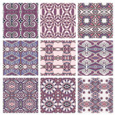 Set of pink different seamless colored vintage geometric pattern — Stock Vector