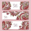 Set of three horizontal banners with decorative ornamental flowe — Stock Vector #71021109