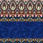 Ultramarine ornamental floral folkloric background for invitatio — Stock Vector