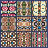 Seamless dirty dark blue vintage geometric pattern — Stock Vector