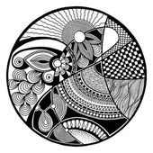 Black and white abstract zendala on circle — Stock Vector