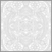 Coloring book square page for adults - floral authentic carpet d — Stock Vector