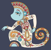 Line art drawing of ethnic monkey in decorative ukrainian style — Stock Vector