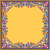Yellow floral vintage frame, ukrainian ethnic style — Vetor de Stock