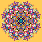 Mandala, yellow circle decorative spiritual indian symbol of lot — Stok Vektör
