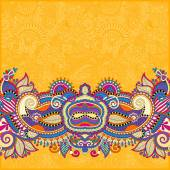 Yellow paisley design on decorative floral background for invita — Stockvector