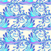 Seamless decorative aquatic blue wave with sparks and drops back — Stockvector