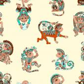 Seamless pattern with decorative monkey animal — Vetor de Stock