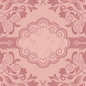 Vintage Card with damask background, luxury pink design — Stock Vector