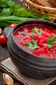 Traditional Ukrainian vegetable borsch — Stockfoto