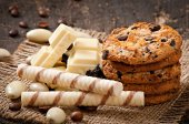 White chocolate, almonds and cookies — Stock Photo