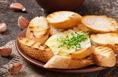 Baked Camembert cheese with thyme and toast rubbed with garlic — Stock fotografie
