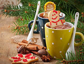 Hot chocolate and gingerbread — Stock Photo