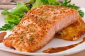 Baked salmon with  potato gratin — Stock Photo