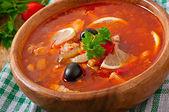 Soup solyanka Russian — Zdjęcie stockowe