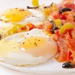 Breakfast fried eggs with bacon — Stock Photo #58176321