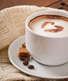Cup of latte with heart — Stockfoto
