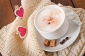 Cup of latte with hearts decorations — Stock Photo