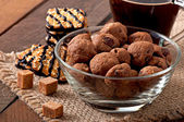 Cookies  with raisins , walnuts and coffee — Stock Photo