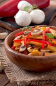 Sauteed mushrooms with pumpkin and sweet pepper — Stock Photo