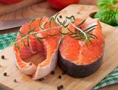 Fresh and raw steaks trout — Stock Photo