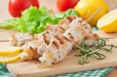 Grilled pork kebab with onions — Foto de Stock