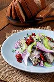 Herring with celery and red onion — Zdjęcie stockowe
