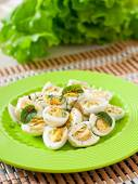 Boiled eggs on plate — Stock Photo