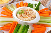 Tasty hummus  with vegetables — Stock Photo