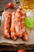 Grilled sausages with vegetables — Stock Photo