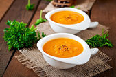 Pumpkin soup in a bowls — Stock fotografie