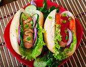 Hotdog with ketchup, mustard, lettuce and vegetables — Stock Photo