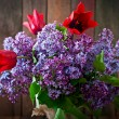 Bouquet of purple  lilac with tulips — Stock Photo #72485225