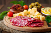 Antipasto catering platter with salami and cheese — Stock Photo