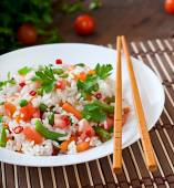 Healthy rice with vegetables — Stock Photo